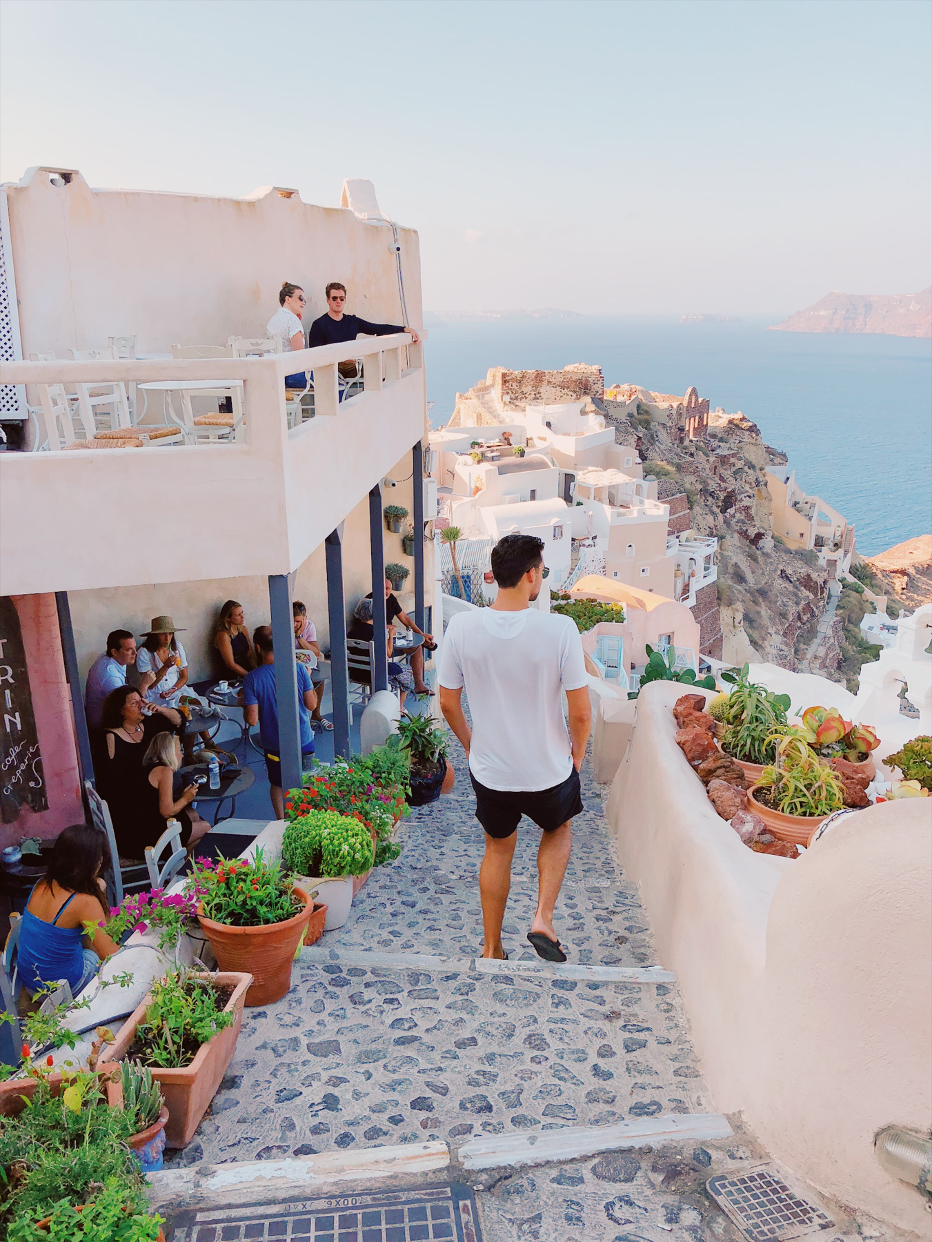 Walking around Oia, Vitrin Cafe is to the left