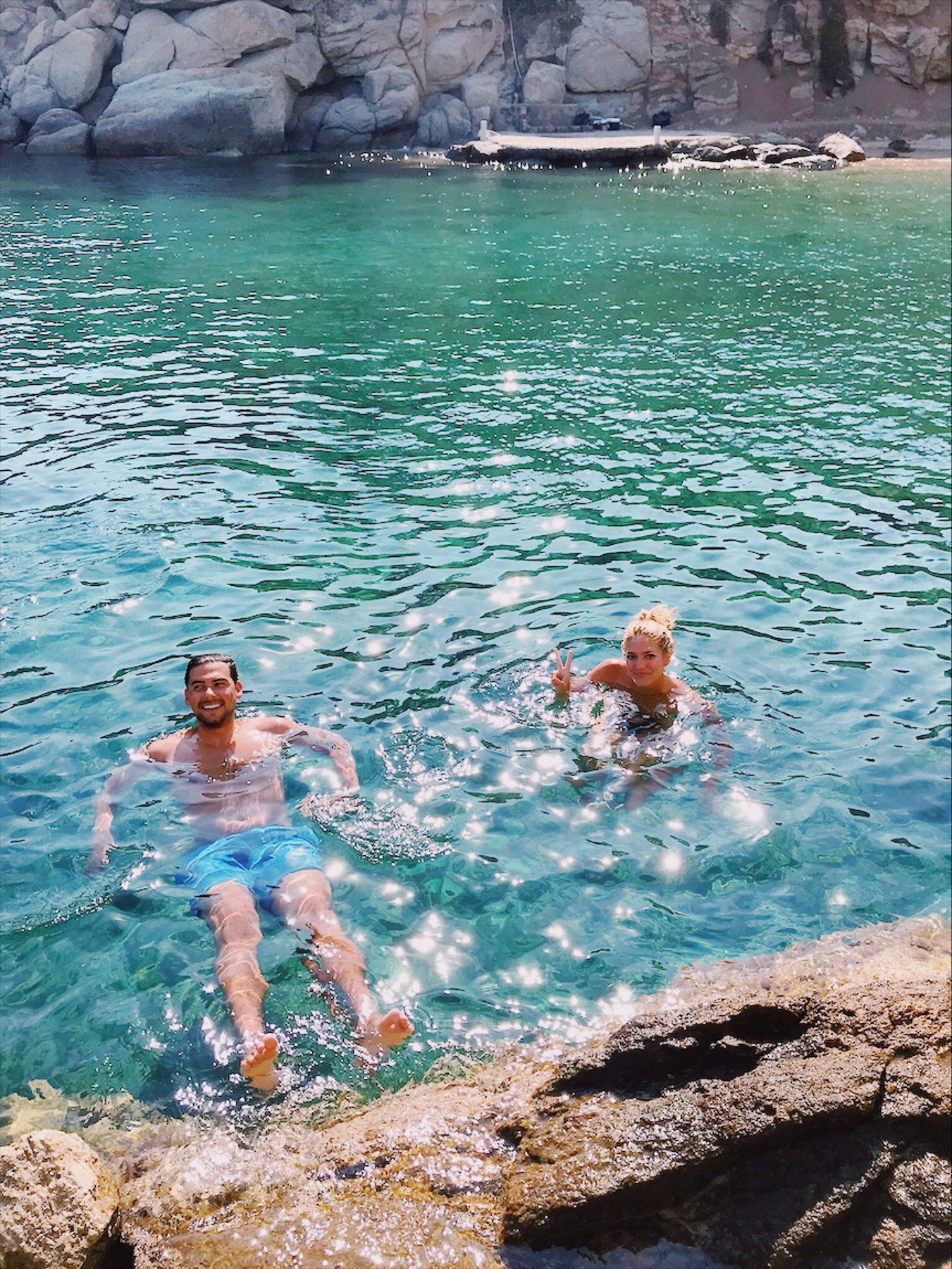 Swimming in the cove near Spilia