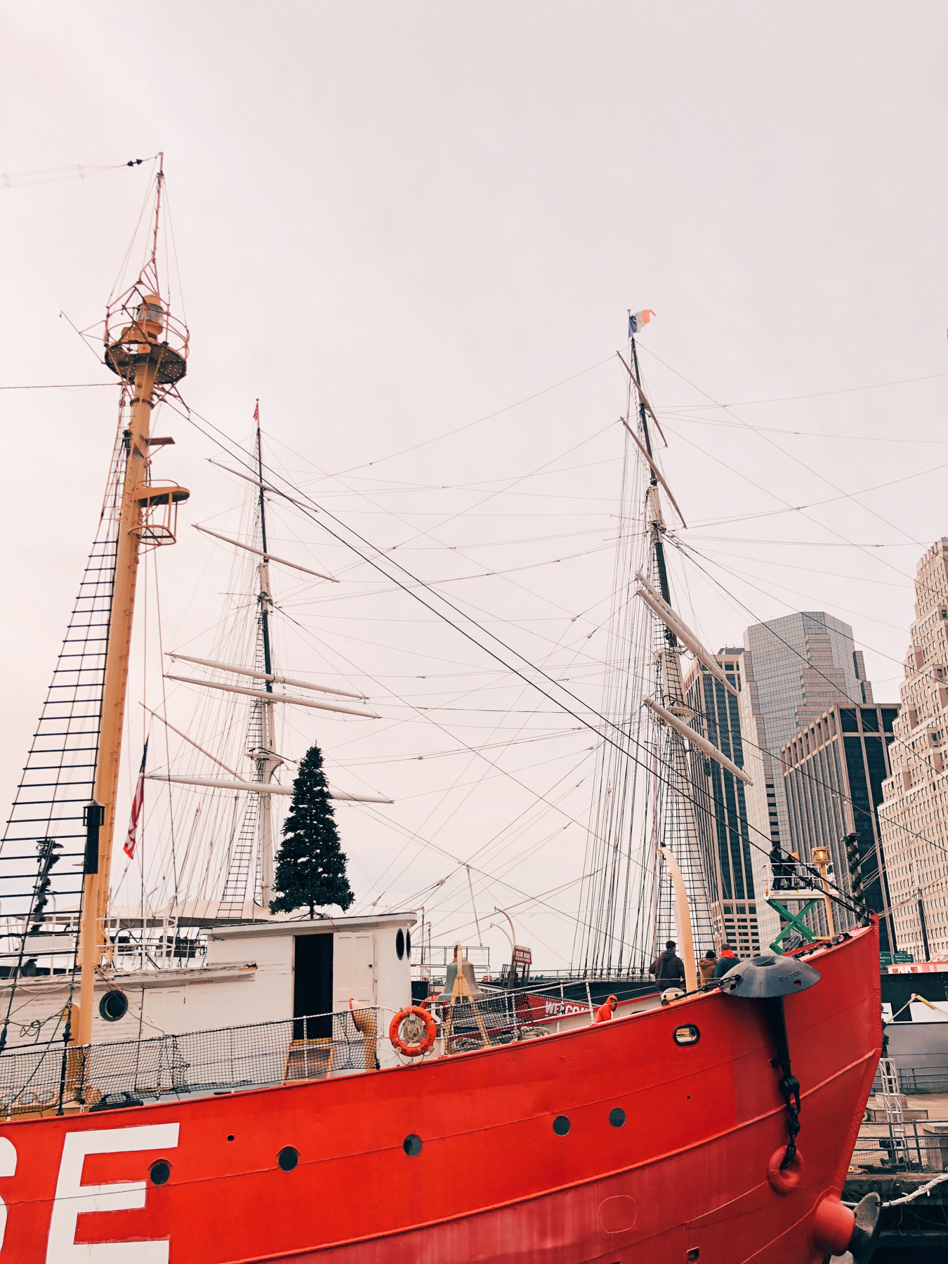 Boats decorated for Christmas at South Street Seaport