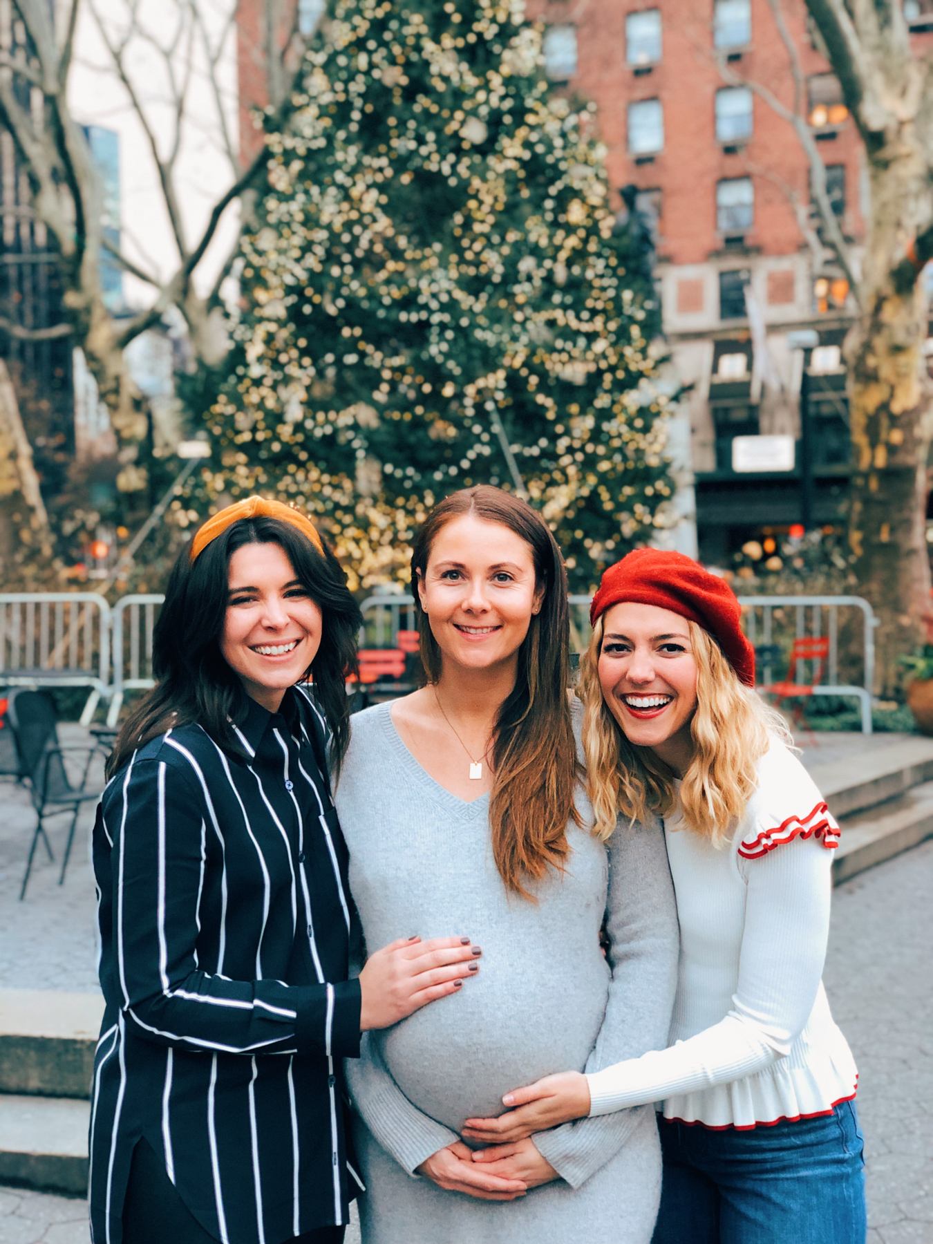 Haley, Kate, and I in front of the Christmas tree in Lincoln Square