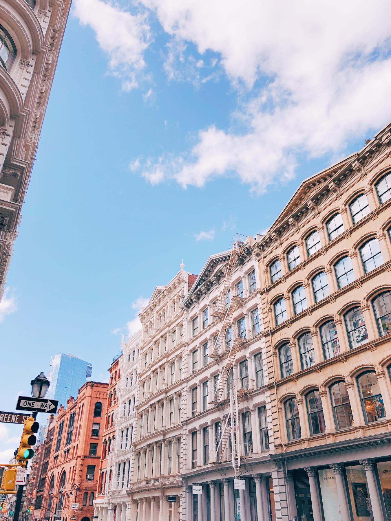 Admiring the beautiful buildings in Soho