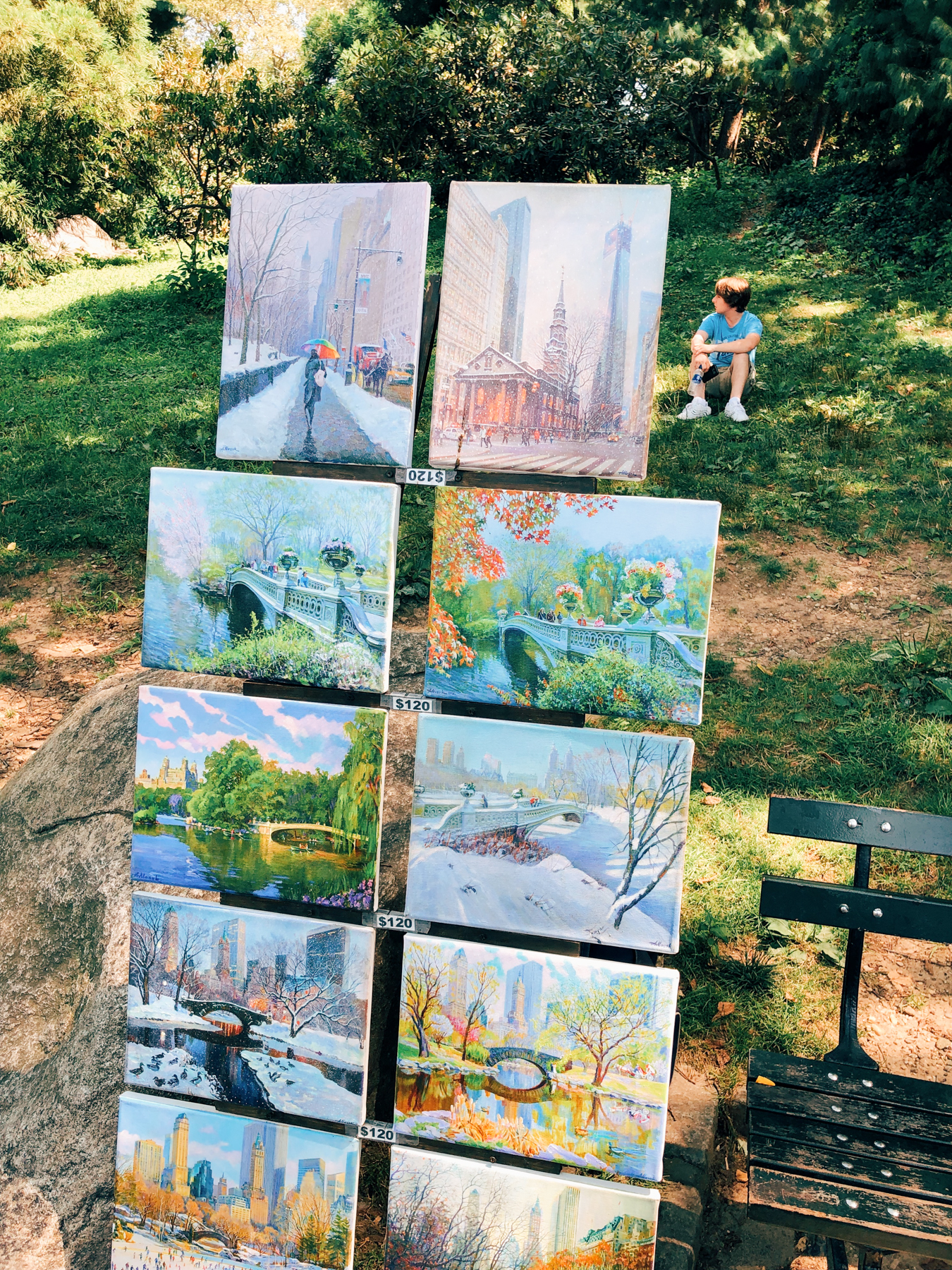 Paintings for sale near the Bethesda Fountain in Central Park