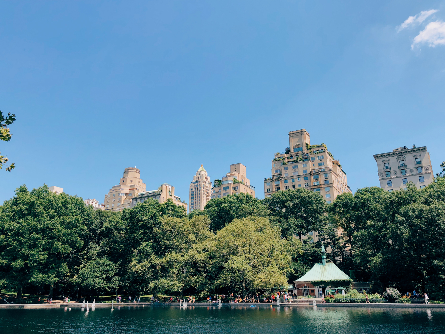 A view of the Conservatory water in Central Park