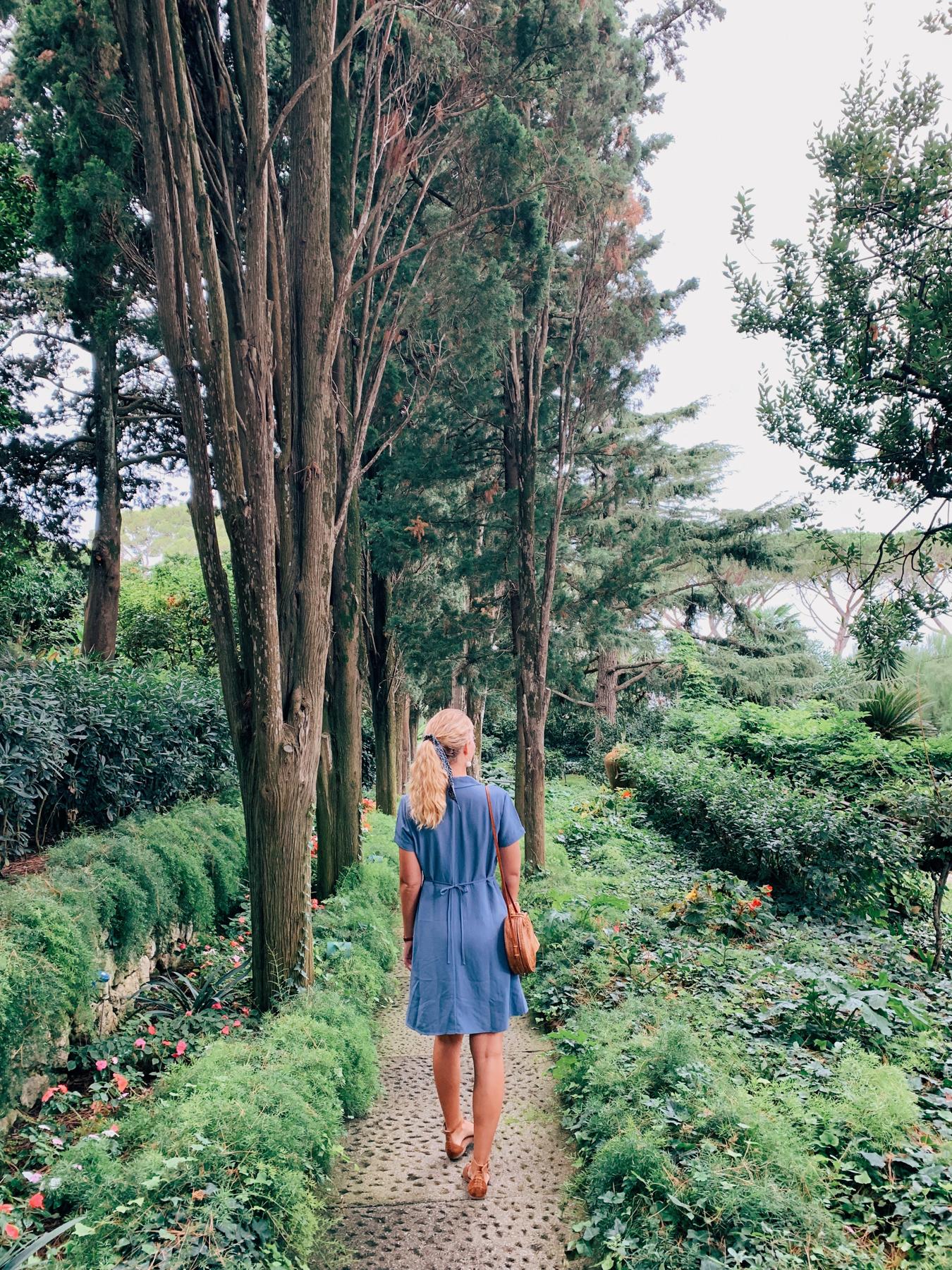 Walking around the gardens at Villa San Michele.