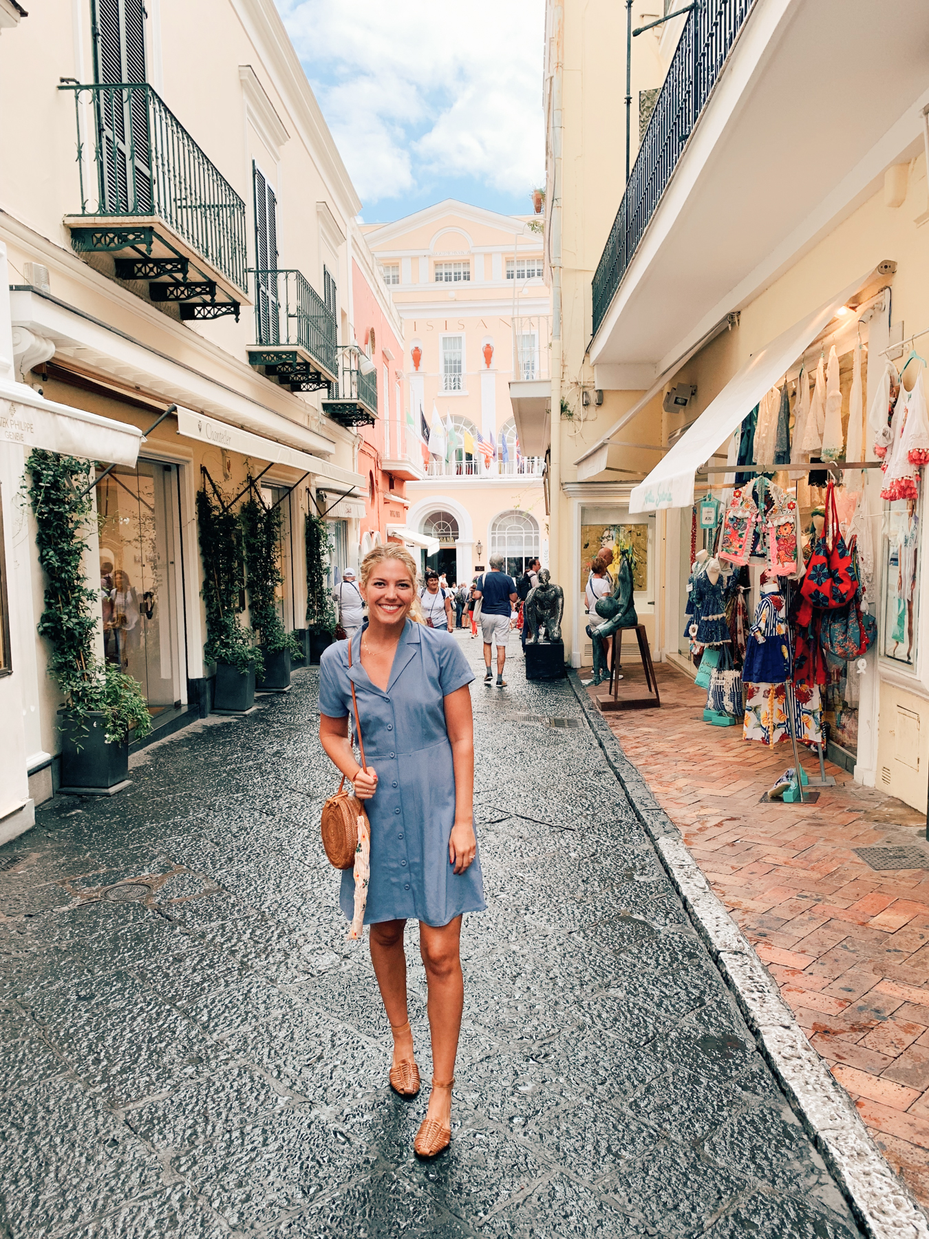 Walking around Capri town.