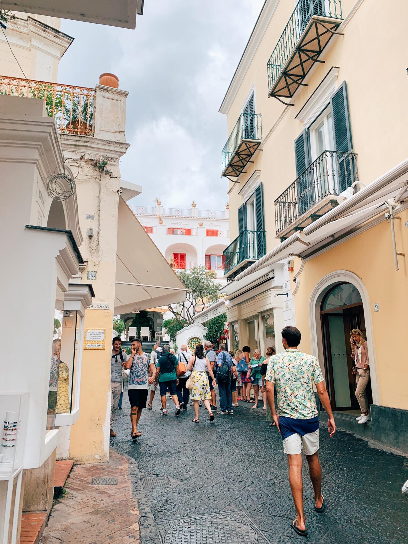 Nate walking around Capri town.