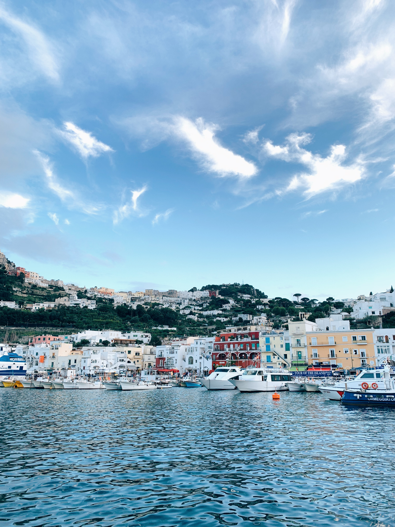 A look up at Capri from the marina.