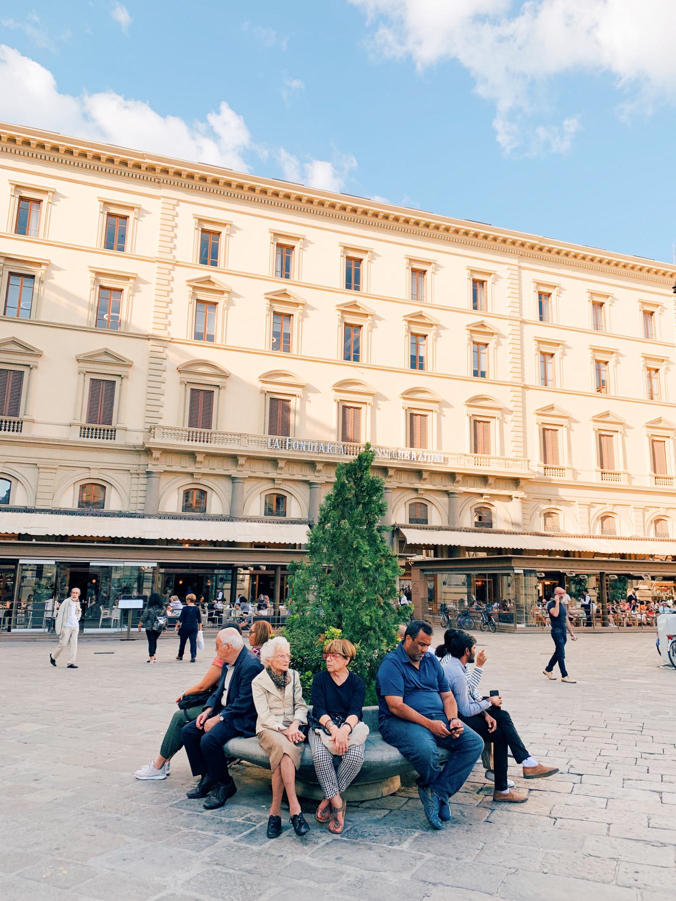 People relaxing in Piazza della Repubblica