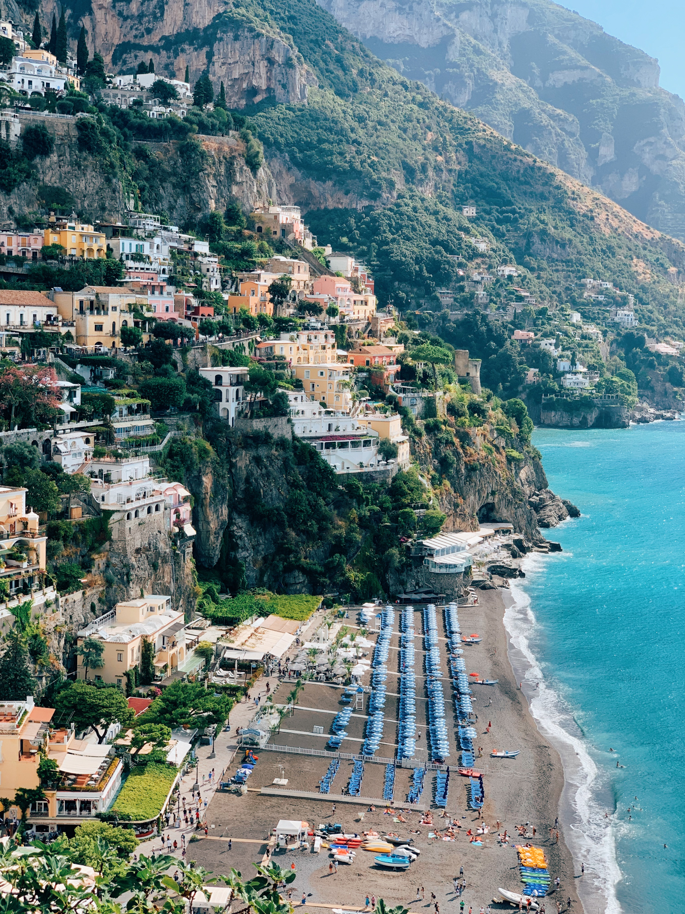 A view of the beach from Cafe Positano
