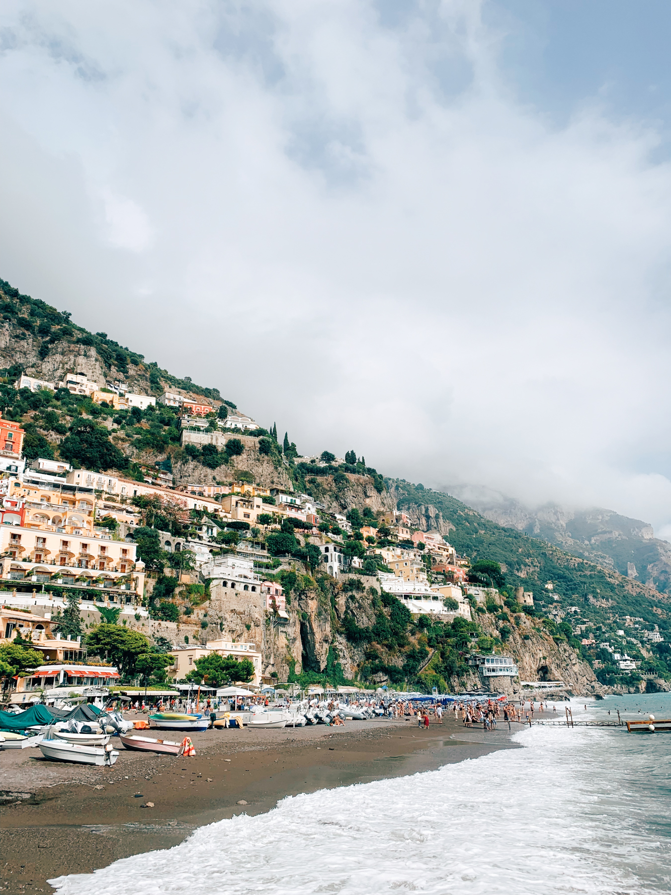 The view of Positano looking up from the pier