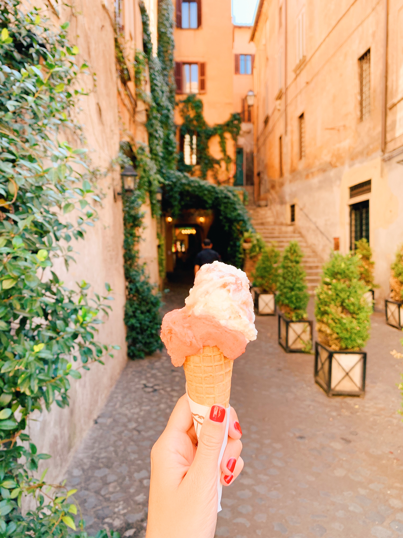 "Our favorite gelato in Rome was from Gelateria del Teatro. I got ""peach & lavender"" and ""strawberry"". Yes, 8 months later I remember these flavors which tells you how delicious they were."
