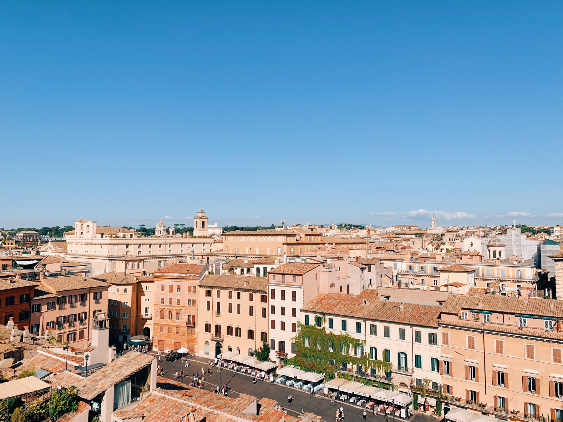 The view of Piazza Navona from our rooftop drinks at Terrazza Borromini.