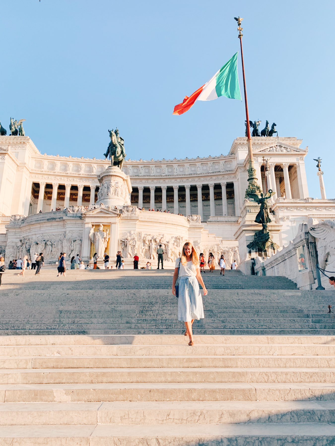 "Walking down the steps of the ""Altar of the Fatherland""."