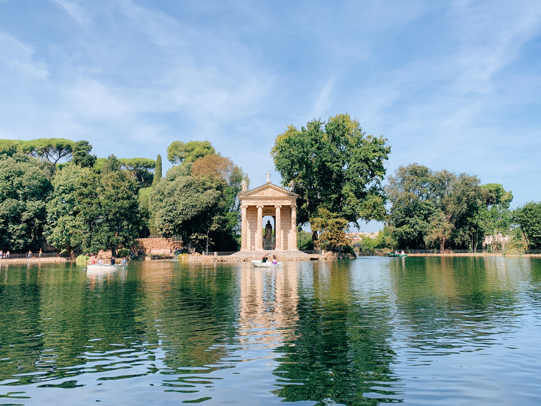 One our second day in Rome we visited the Villa Borghese. Here is the Temple of Asclepius inside the villa where you can row boats!