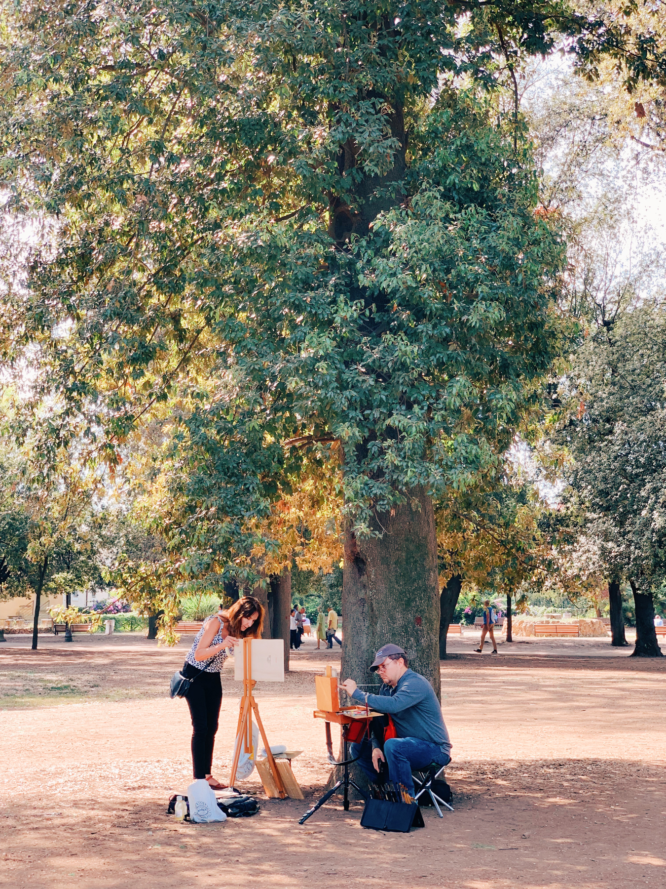 Painters setting up in Villa Borghese.