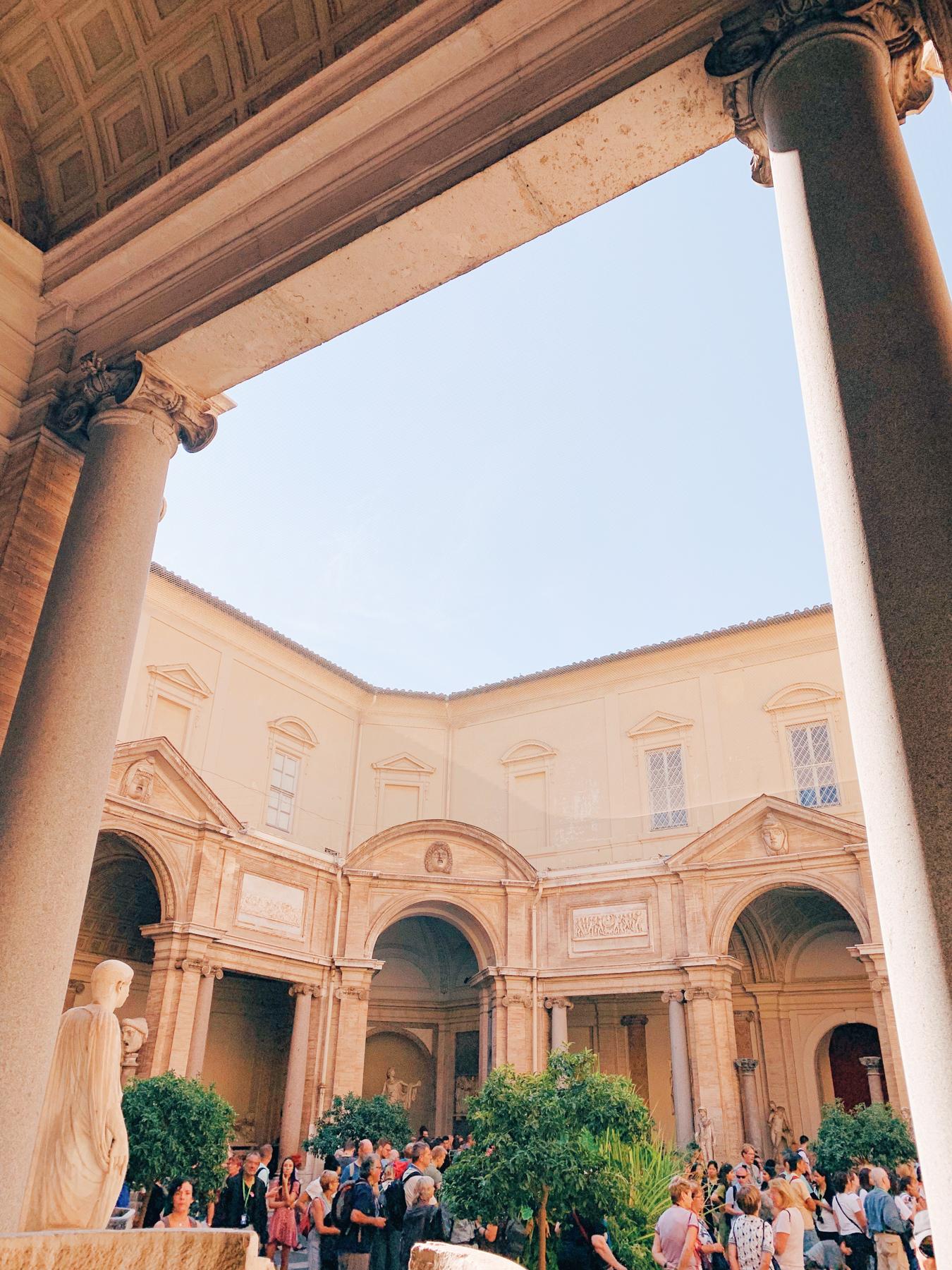 Inside a Vatican Museum courtyard.