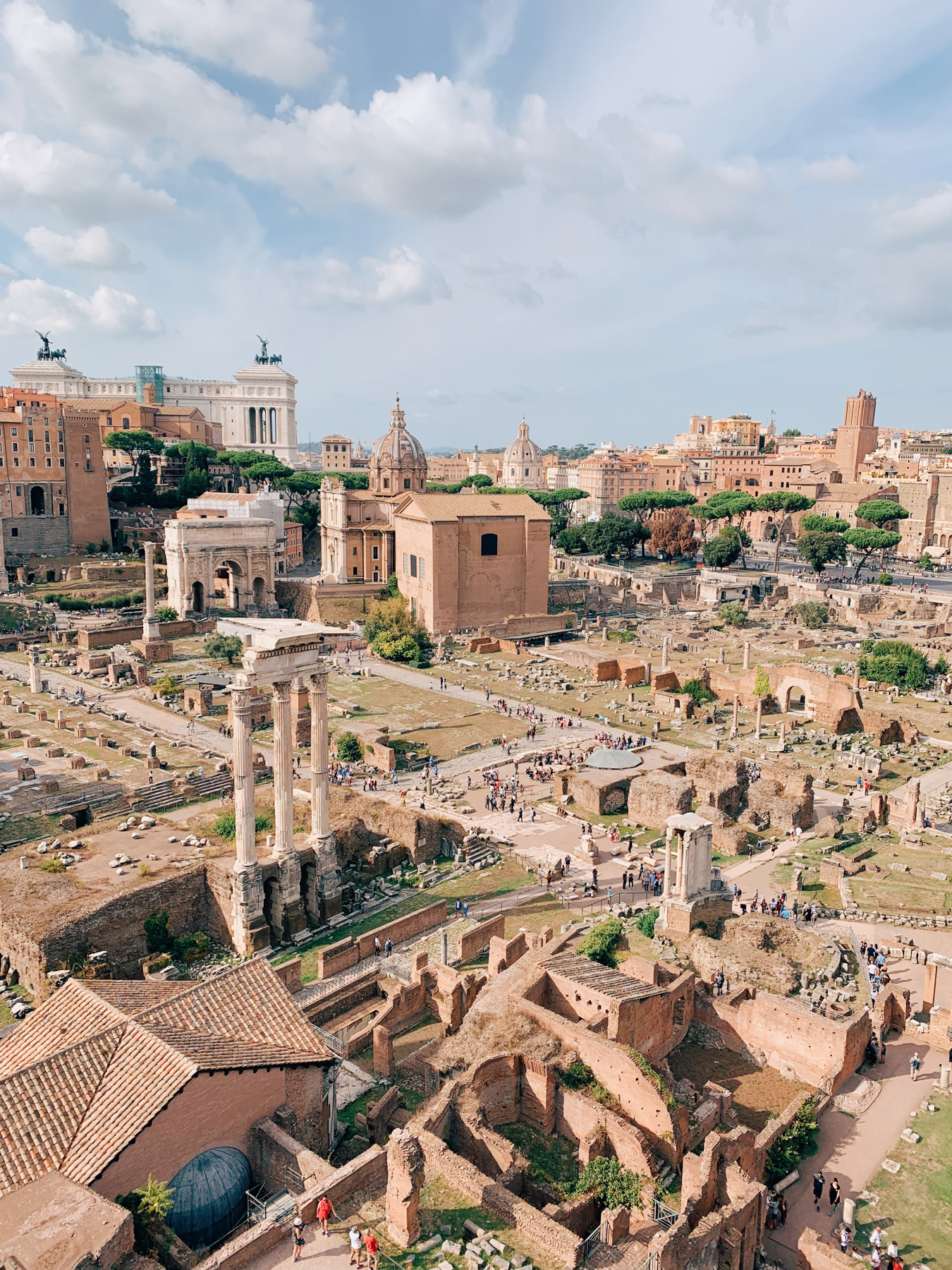 View looking down on the Roman Forum during our tour.