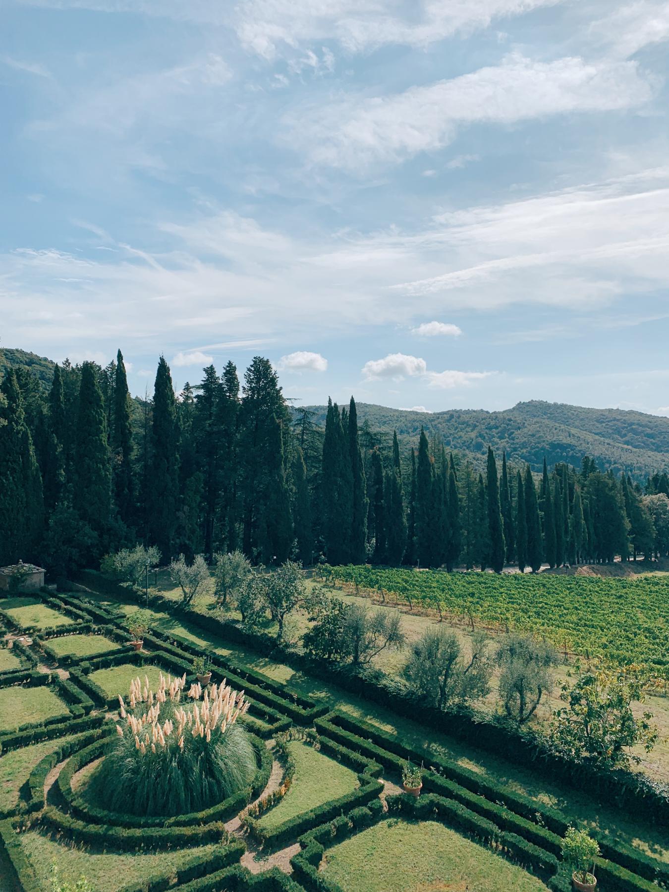 View of the gardens at Castello di Brolio.