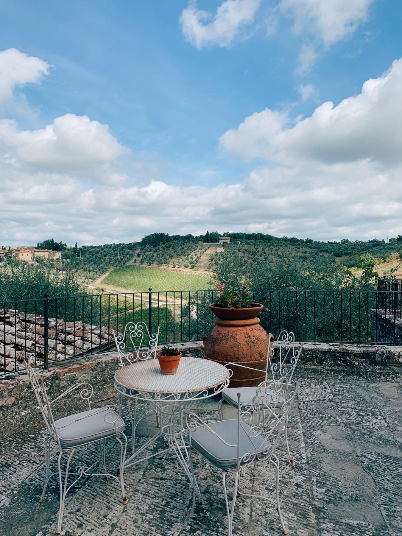 The back patio at Castello di Ama.