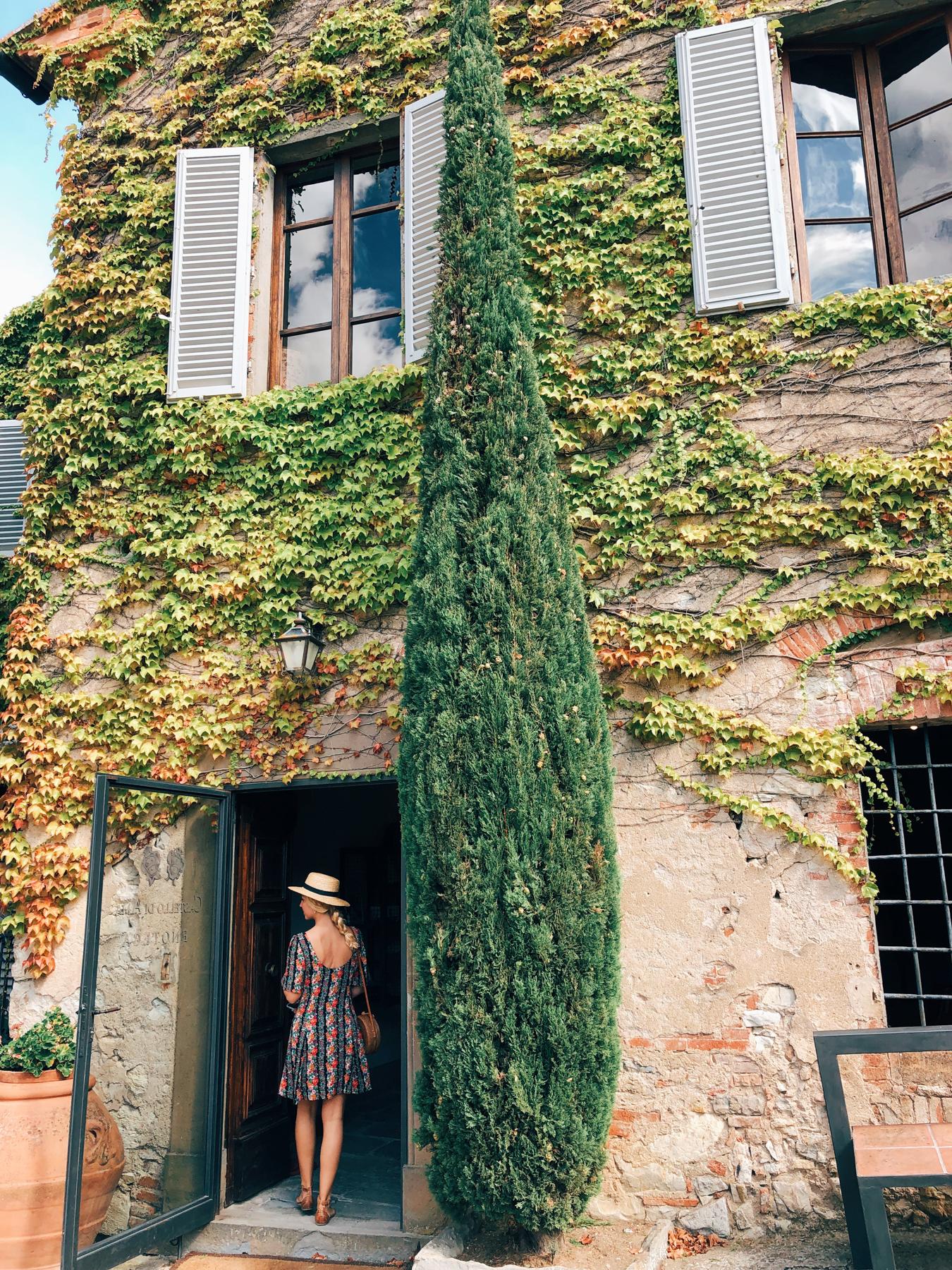 Entering the wine tasting room at Castello di Ama.