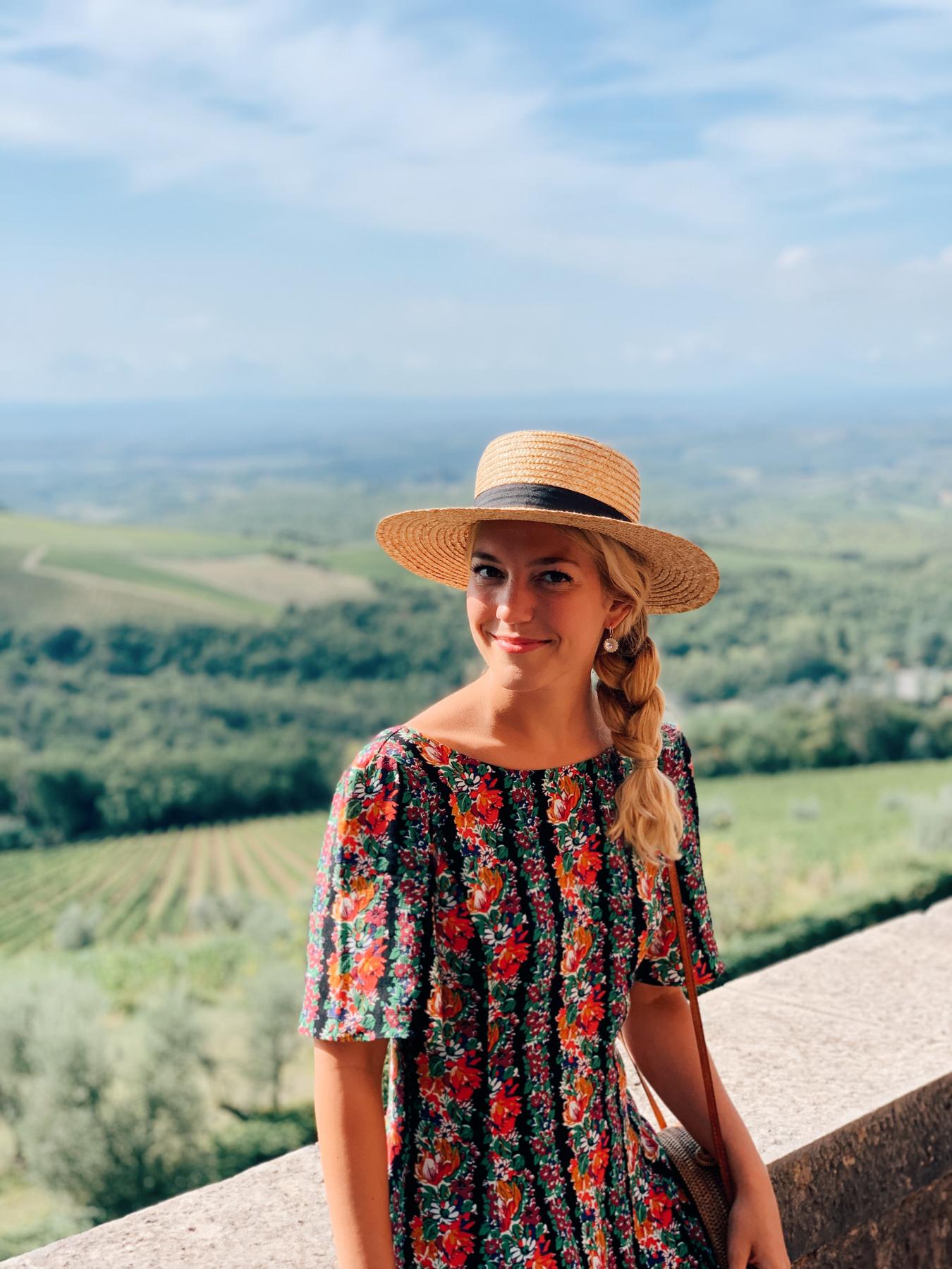 Me sitting on the ledge of the Castello di Brolio.