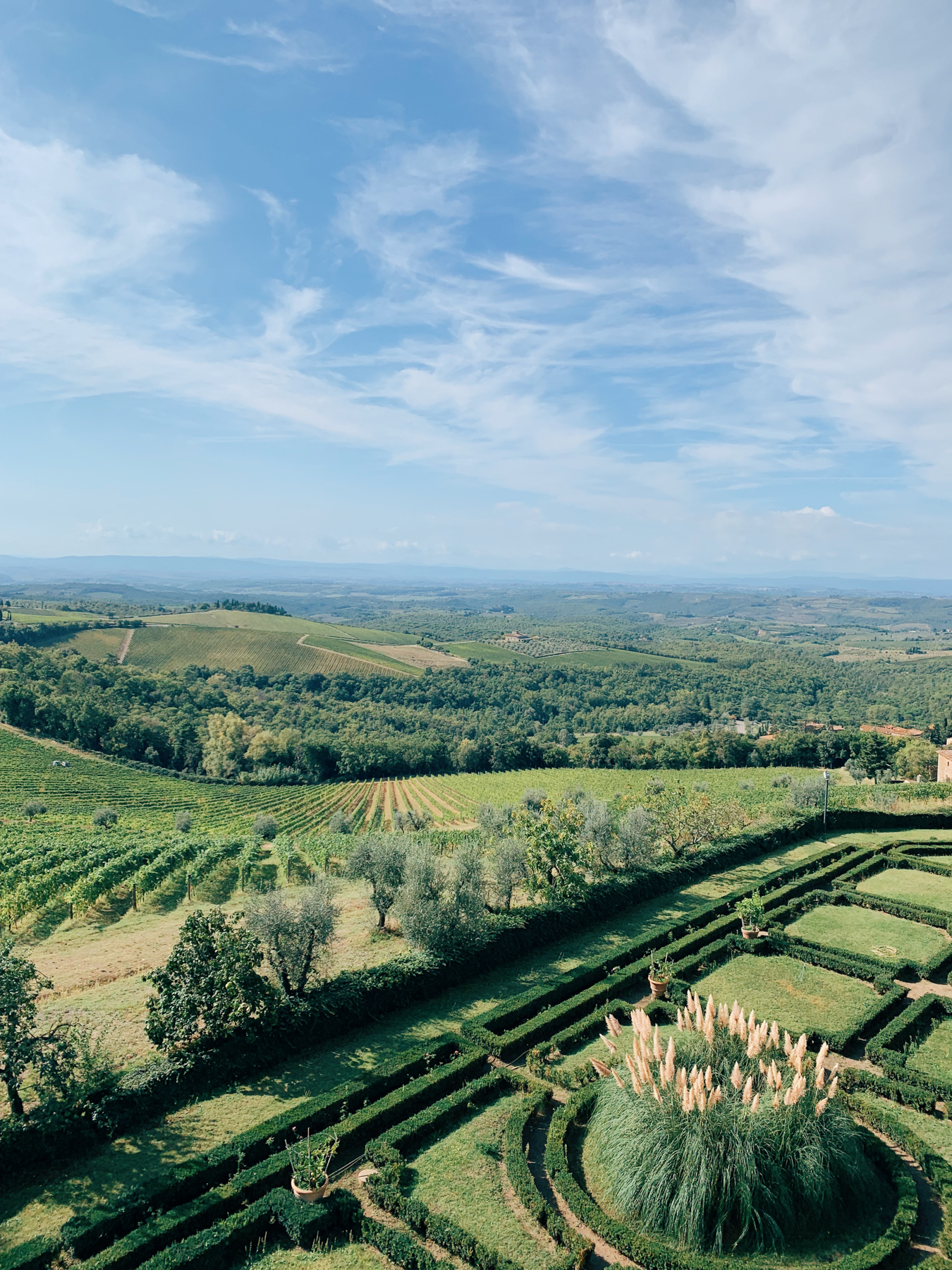 Ricasoli winery, at the Castello di Brolio, view of the gardens below.